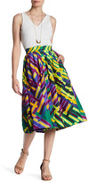 Tracy Reese Button Front Print Skirt