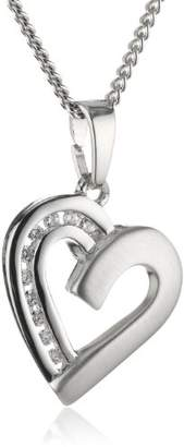 Camilla And Marc Xaana Women's Heart Pendant with Zirconia and Curb Chain Necklace 45 CM Rhodium-Plated 925 Sterling Silver AMZ0230