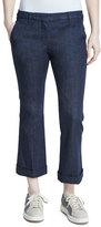 Brunello Cucinelli Cuffed Denim Kick Flare Jeans, Dark Wash