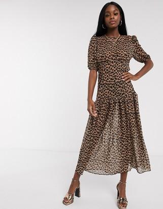NEVER FULLY DRESSED short sleeve sheer drop hem maxi dress in leopard