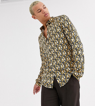 Asos Design DESIGN Tall regular geo print shirt in stone