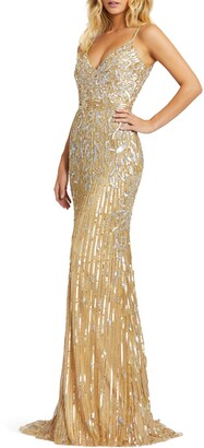 Mac Duggal Sequin V-Neck Sheath Gown