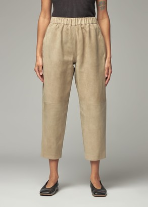 Dusan Women's Suede Pijama Pull On Pant in Sand Size Small
