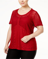 INC International Concepts Plus Size Multi-Stitch Knit Top, Only at Macy's