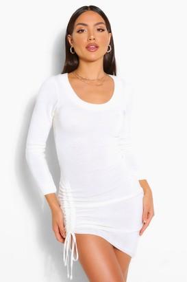 boohoo Ruched Hem Knitted Mini Dress