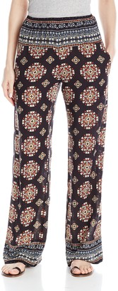 RD Style Women's Crinkle Printed Wide Leg Pull On Pant
