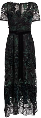 Marchesa Embroidered Velvet & Lace Cocktail Dress