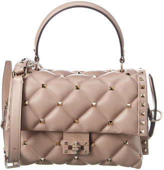 Valentino Candystud Quilted Leather Top Handle Shoulder Bag