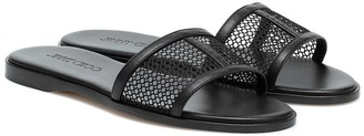 Jimmy Choo Minea leather-trimmed mesh slides