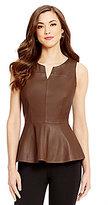 Antonio Melani Hilary Genuine Leather Peplum Top