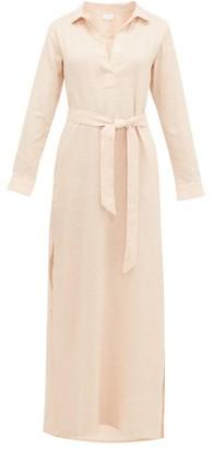 POUR LES FEMMES Open-collar Tie-waist Linen Nightdress - Light Pink