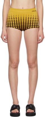 Miu Miu Brown and Yellow Dots Culotte Shorts