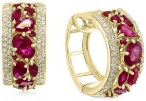 Effy Certified Ruby (3-1/2 ct. t.w.) & Diamond (5/8 ct. t.w.) Small Huggie Hoop Earrings in 14k Gold