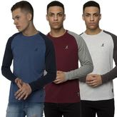Kangol Mens Casual Long Sleeve Tee Contrast Raglan Crew Neck T-Shirt Sizes SXXL