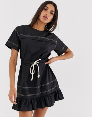 Asos Design DESIGN mini skater dress with rope belt-Black