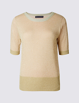 M&S Collection Sparkly Round Neck Short Sleeve Jumper
