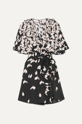 Valentino Ruffled Floral-print Silk Crepe De Chine Mini Wrap Dress - Black