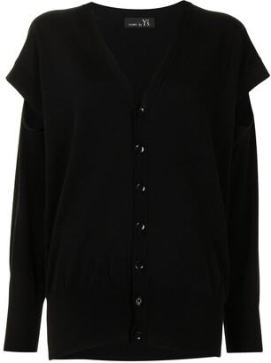 Y's Layered Cardigan With Sleeve-Slit Detail