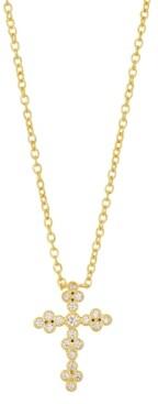 "Unwritten Gratitude & Grace Fine Silver Plated Cubic Zirconia Cross Pendant Necklace in Gold, 16"" + 2"" extender"