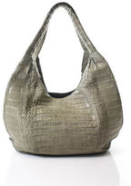 Nancy Gonzalez Taupe Crocodile Braided Strap Hobo Handbag