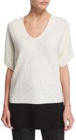 Escada Short-Sleeve Paillette Colorblock Pullover, Open Off White/Black