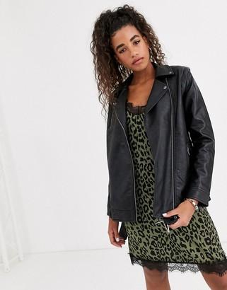 Pepe Jeans Bona faux leather belted biker jacket-Black