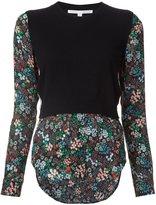 Veronica Beard 'Mellow' mixed media sweater blouse