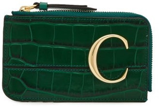 Chloé The C Logo Crocodile-embossed Leather Coin Purse - Green