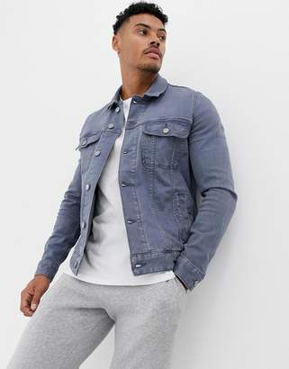 Asos Design DESIGN skinny western denim jacket in washed gray
