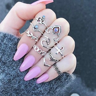 Fugift Bohemian Vintage Women Elephant Turquoise Finger Rings Punk Ring Gift Fashion Ladies Rings Accessories