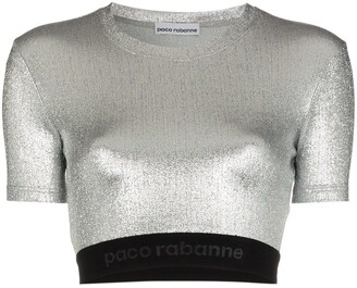 Paco Rabanne Metallic Logo Embroidered Crop Top