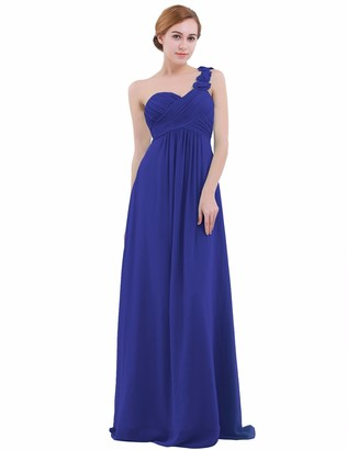 iEFiEL Womens One-Shoulder Chiffon A-line Bridesmaid Maxi Long Evening Party Prom Gown Dress Pearl Pink UK Size 18 /#14