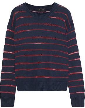 Rag & Bone Penn Open Knit-trimmed Ribbed-knit Sweater