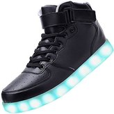 Kaleido Unisex High Top USB Charging 7 Colors LED Shoes Flashing Sneakers (6.5 B(M) US Women/4.5 D(M) US Men, )