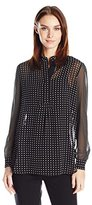 Anne Klein Women's Dot Print Long Sleeve Blouse