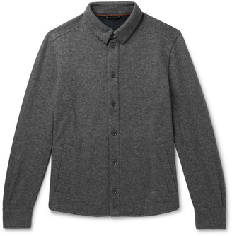 Loro Piana Suede-Trimmed Melange Cashmere-Blend Overshirt - Men - Gray