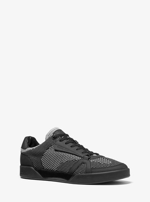 Michael Kors Adrian Two-Tone Stretch Knit and Rubberized Leather Sneaker
