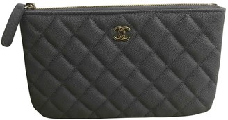 Chanel Timeless/Classique Grey Leather Purses, wallets & cases