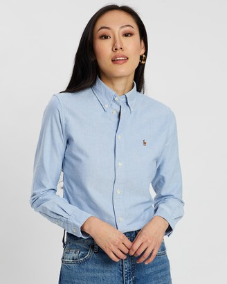 Polo Ralph Lauren Women's Blue Shirts & Blouses - Custom Fit Cotton Oxford Shirt - Size L at The Iconic