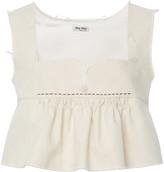 Miu Miu Ruffled Cotton Cropped Top