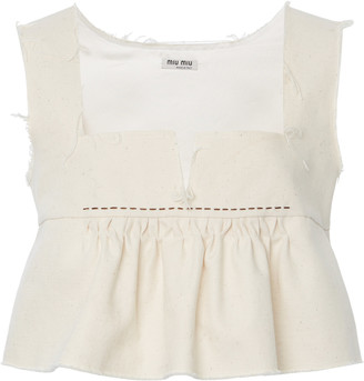 Miu Miu Ruffled Cotton Cropped Top