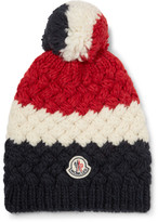 Moncler Colour-block Knitted Bobble Hat - Navy