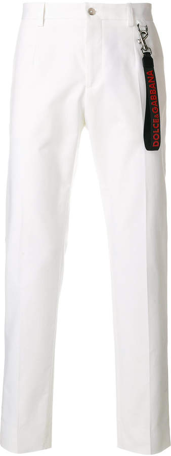 Dolce & Gabbana emblem piped trousers