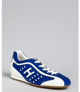 Hogan cobalt perforated patent leather sneakers