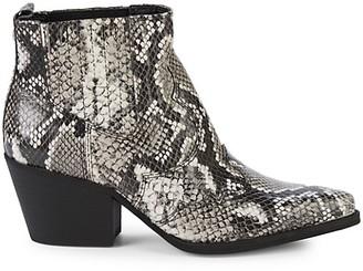 Sam Edelman Winona Croc-Embossed Leather Stack-Heel Booties