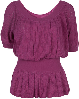 Catherine Malandrino Pink Knit Cinched Waist Top S