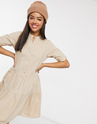 Vero Moda smock dress with button front in beige