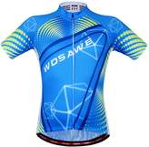 WOSAWE Mens Breathable Cycling Jersey Short Sleeves (Black/White Jersey,)