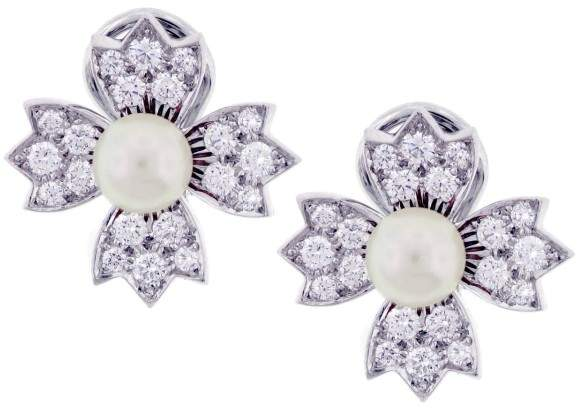 Tiffany & Co. Platinum Pearl & Diamond Earrings