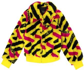 Versace Children La Greca faux fur jacket